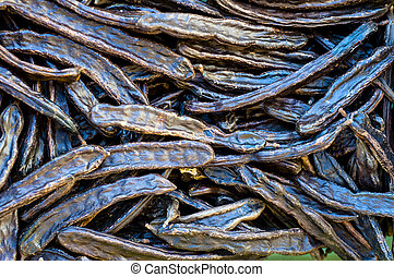 Carob Beans for Sale at a Puglia Market in Southern Italy