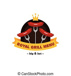 Vector bright bbq and grill restaurant logo. Brand sign