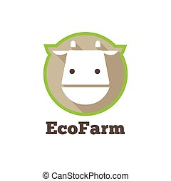 Vector flat modern minimalistic cow logo. Farm products sign...