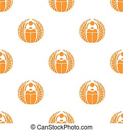 Vector simple orange scarab seamless pattern Egyptian...