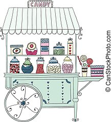 Cart for sale candy. - Cart for sale sweet candy. Vector...