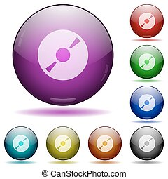 DVD glass sphere buttons - Set of color DVD glass sphere...