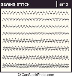 0116_3 sewing stitch - Collection of vector illustration...