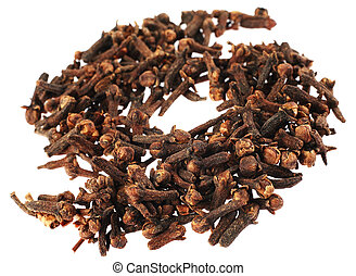 Clove spice - Clove brown heap detail spice on white