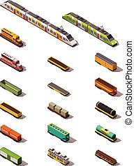 Vector isometric trains - Set of the isometric trains and...
