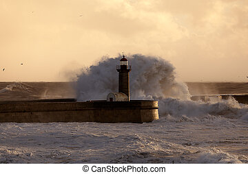 Stormy waves over old lighthouse and pier - Big stormy waves...
