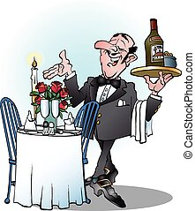 Waiter invites to table - Vector cartoon illustration of a...