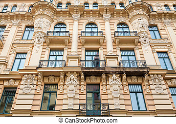 beautiful wall with decor, an Art Nouveau architecture style...