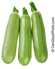 Green zucchini vegetable isolated on white background