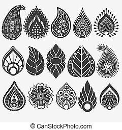 Oriental leaf, floral elements set