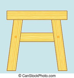 Stool - Illustration of the wooden stool icon