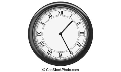 Clock with Roman Numerals. HD 1080. Loop. Isolated on White.