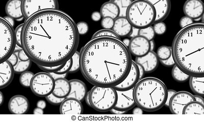 Many Clocks flying in Time-lapse in 3D animation. Time...