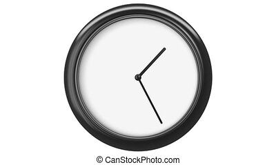 Clock with Blank Dial. HD 1080. Loop. Isolated on White.