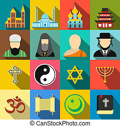 Religion flat icons set for web and mobile devices