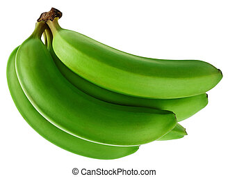 Green banana - Banana fruit bunch isolated on white...