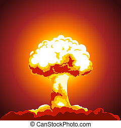 Nuclear explosion illustration Mushroom cloud Color picture...