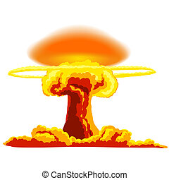 Nuclear explosion with dust. Orange and red illustration on...
