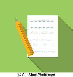 Document flat icon with long shadow for web and mobile...