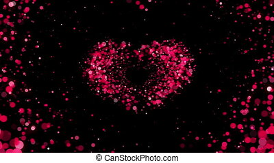 Heart Shape made of Pink Particles Beating. Beautiful looped...