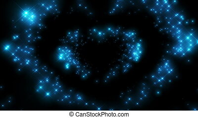 Heart Shape made of Twinkling Stars Beating Beautiful looped...