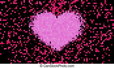 Pixels on Digital Screen with Heart Shape Beating Looped 3d...