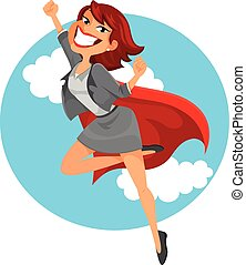 super business woman - business woman with a superhero's...