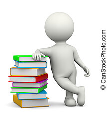 White 3D Character Leaned on a Heap of Books Illustration on...