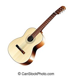 Realistic classic acoustic guitar - Isolated realistic...