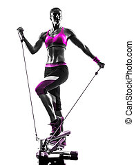 woman fitness stepper silhouette - one caucasian woman...
