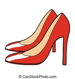 Stiletto - Cartoon illustration of red stiletto