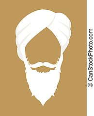 Indian Person With Turban - Face symbol of an senior Indian...