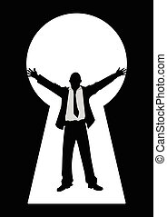 Keyhole Businessman Open Arms - Silhouette illustration of a...