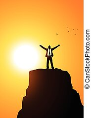 Businessman On Top Of A Mountain - Silhouette of a...