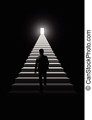 Man Step On Stairs - Silhouette illustration of a man...