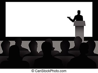 Man On Podium - Silhouette illustration of man figure giving...