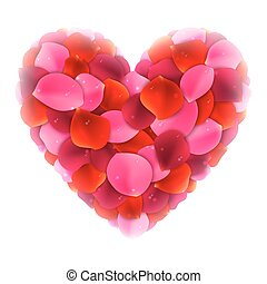 Rose Petals Love Heart - Love heart made of red and pink...