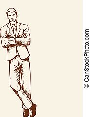 Businessman Sketch - Sketch of a businessman leaning at the...