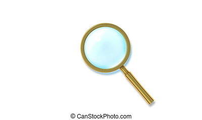Beautiful Golden Magnifier. Looped 3d animation. Alpha...