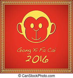 Chinese New Year - Simple cartoon of a monkey for Chinese...