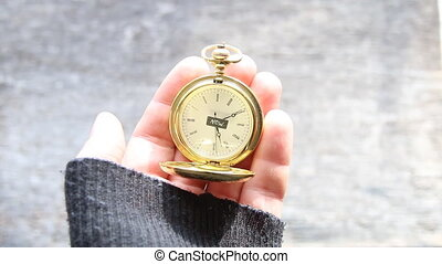 Now, Time concept Text and pocket watch - Now text and and...