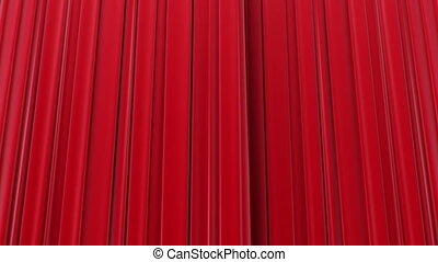 Zooming on Red Curtains, Opening and closing 3d animation,...