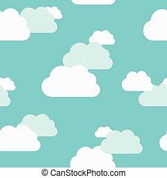 Beautiful clouds seamless pattern - Beautiful white and...