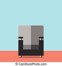 Black armchair in room