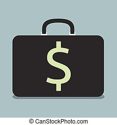 Briefcase with dollar sign - Black briefcase with dollar...