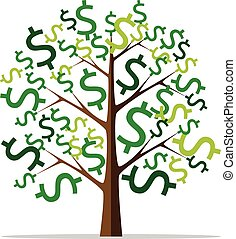 Money tree isolated - Money tree with green dollar signs...