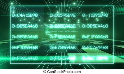 Software Code Text. Green Digital Background. HD 1080.