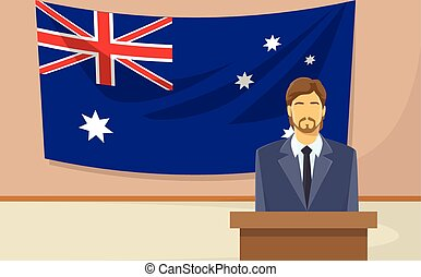 Australia Flag Tribune Speech Businessman Politic Flat...