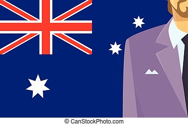 Australia Flag Businessman Suit Politic Flat Vector...
