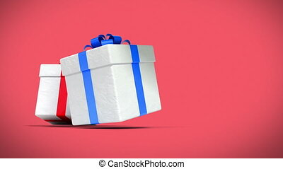 Many Beautiful Gifts and Presents falling on red background...